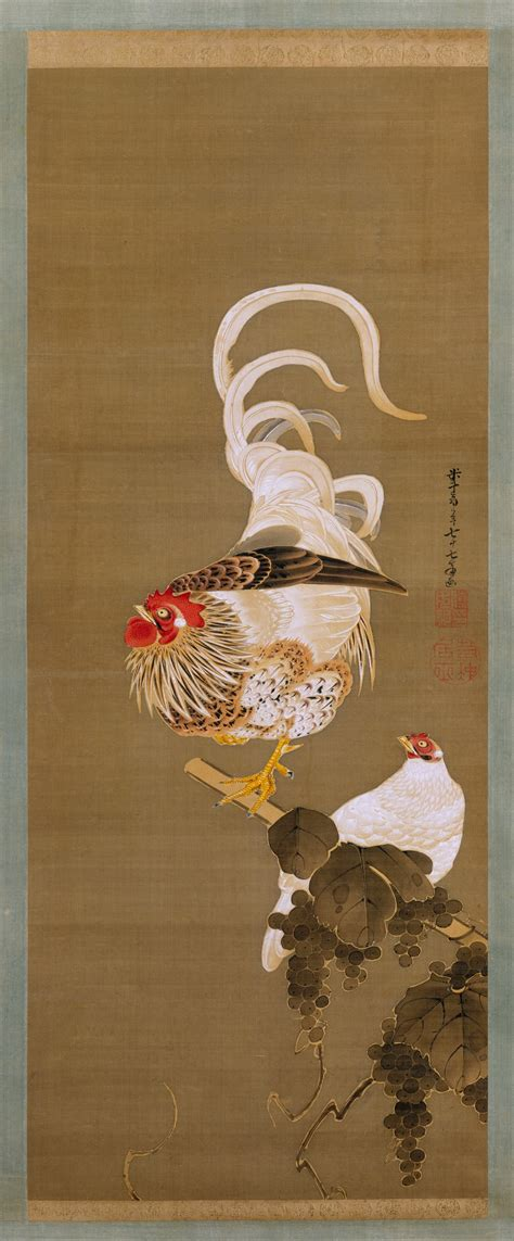 Itō Jakuchū | Hen and Rooster with Grapevine | Japan | Edo