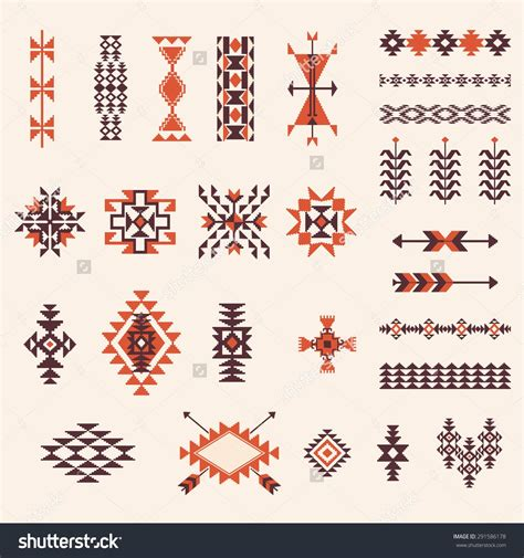 Native american navajo aztec pattern vector elements design set | アステカ模様