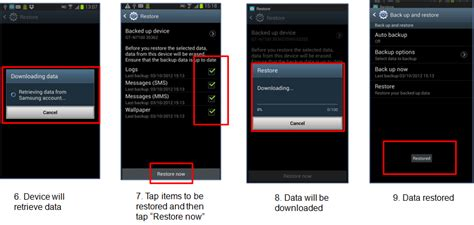 How do I restore my data from my Samsung account after a