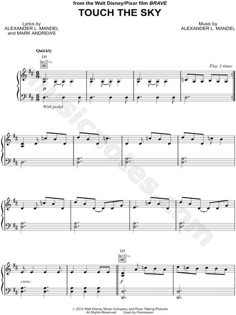 """Touch the Sky"" from 'Brave' Sheet Music in D Major"